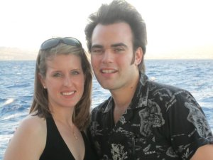 Jess and I on a dinner cruise off the coast of Honolulu.